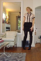 blouse - FCUK skirt - boots