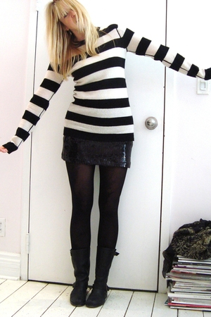sweater - skirt - boots