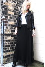 Black-kelsi-dagger-boots-black-jacket-black-sheer-pleated-bardot-skirt