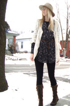 army green lace upbuckle Nine West boots - black floral print Earnest Sewn dress