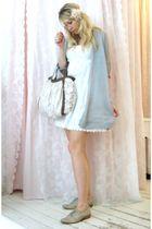 white dress - silver cardigan - beige Pour La Victoire shoes - beige accessories