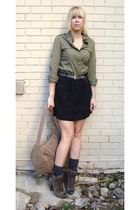 green shirt - gray sessun skirt - brave belt - brown Colcci boots - gray bag - s