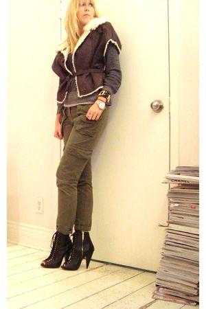 brown Eryn Brinie vest - black Matiko boots - green pants - gray jules power shi