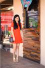 Red-polyester-romwe-dress-black-sheinsidecom-purse-gold-peep-toe-lulus-heels