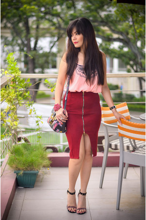 red woolen Sheinside skirt - light pink emboridered Sheinside top