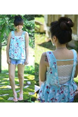 denim cut-offs random brand shorts - open v-back random brand top
