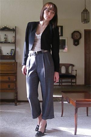 black nicole miller blazer - gray thakoon pants - black vintage belt - beige vin