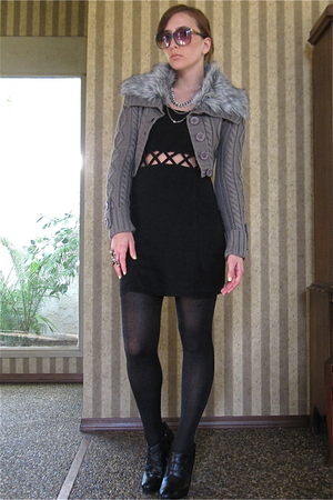 Tres Jolie dress - Faulke tights - Millau sweater - calvin klein boots - Ken Nik