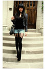 Black-tights-blue-shorts-black-top-gray-blazer
