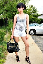 Forever21 top - balenciaga accessories - Aldo shoes - Wet Seal shorts
