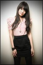 red Forever 21 shirt - black Forever 21 skirt - silver Forever 21 accessories -