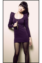purple Urban Outfitters dress - black Urban Outfitters tights
