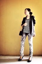 blazer - top - jeans - purse