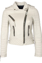 Quilted Biker Leather Jacket (Ivory)