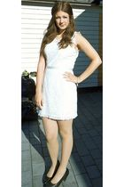 white GINA TRICOT dress - black Eurosko shoes