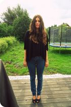 black Moms shoes - blue Cubus jeans - black GINA TRICOT shirt - silver Pandora b