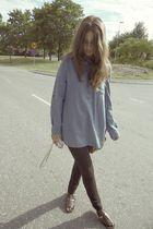 black H&M pants - brown ROOTS shoes - blue BikBok shirt