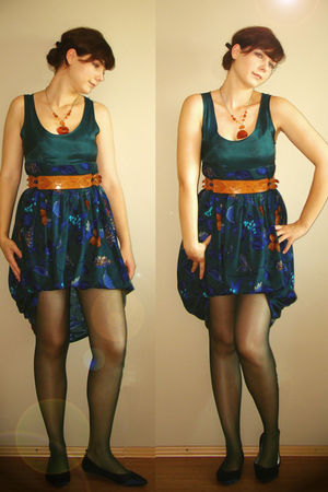 green handmade dress - green stockings - blue shoes - brown accessories