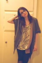 white Forever 21 shirt - beige Forever 21 vest - black Forever 21 leggings - sil