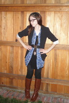 brown Target boots - black Target blazer - black Forever 21 leggings - black For