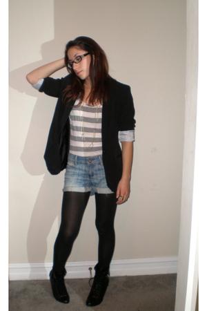 black Target blazer - blue Forever 21 shorts - black Forever 21 boots - white Fo