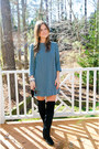 Franco-sarto-boots-turquoise-blue-h-m-dress-vince-camuto-bag
