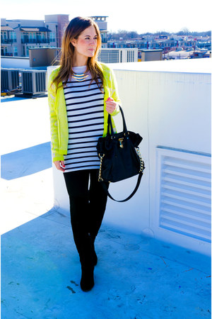 franco sarto boots - Michael Kors bag - stripes Gap top