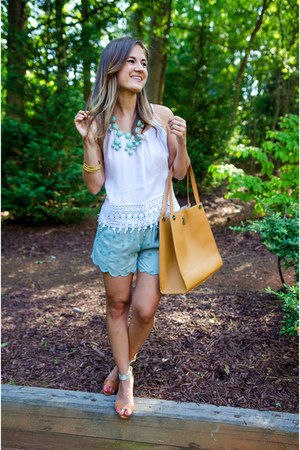Anthropologie shorts - Steve Madden wedges - tank lace white Forever 21 top