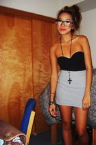 black Forever 21or necklace - black Forever 21 top - gray Forever 21 skirt