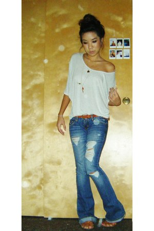hollister jeans - Forever 21 accessories - Forever 21 top - brown sandals