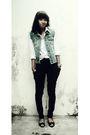 Black-pants-blue-vest-white-blouse