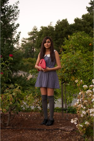 navy Ebay dress - red purse - heather gray Charlotte Russe socks