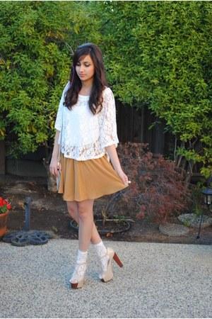 nude GoJane pumps - bronze chiffon Forever 21 skirt