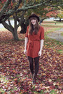 Brown-jeffrey-campbell-boots-burnt-orange-modcloth-dress-maroon-modcloth-hat