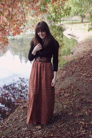 burnt orange maxi Spotted Moth dress - black Jeffrey Campbell boots