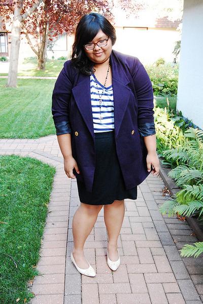 white asos shirt - blue asos blazer - black Target skirt - white thrifted shoes