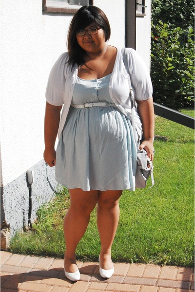 blue asos dress - white Reitmans belt - white pacific mall cardigan - white thri