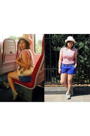 gold belt - blue Matalan shorts - red Seventeen top - beige from a charity shop