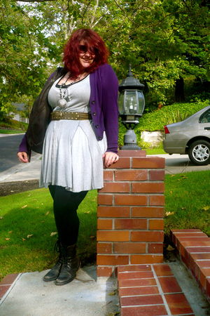 gray Anthropologie dress - purple banana republic cardigan - black American Appa