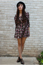 bonjour vintage dress - BCBGgirls shoes - Hatbox hat