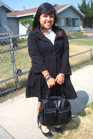 black Old Navy coat - white Forever 21 dress - black payless shoes - black Forev