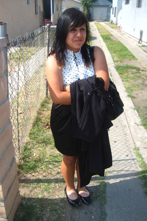 white Forever 21 dress - black Old Navy coat - black payless shoes - black Forev