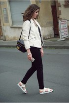 white leather Zara jacket - black Only jeans - black & other stories bag