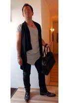 black leather bag - gray Jeffery West boots - silver XAGON MAN shirt