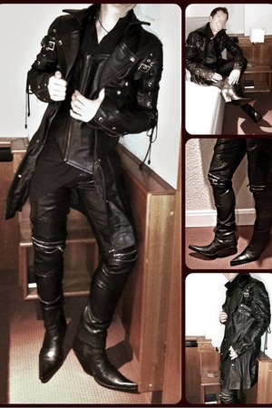black leather Miguel Jones boots - black leather coat