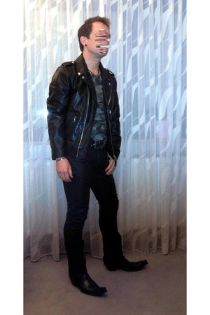 black Schoot USA jacket - black leather Old Gringo boots - black Zara jeans