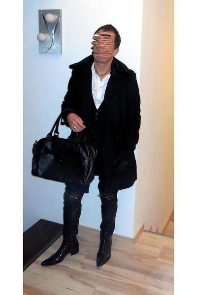 black patent leather Jeffery West boots - black Zara coat