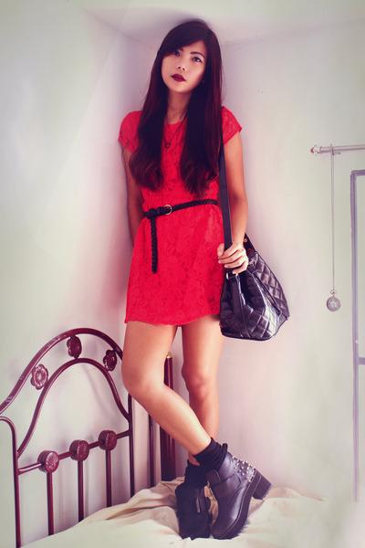 red lace Woakaocom dress - black riveted wholesale7net boots