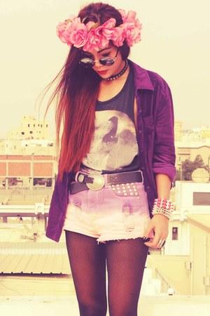 light purple tie dyed madladycom shorts - silver spikes Romwecom bracelet