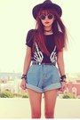 Black-magnetic-romwe-bracelet-sky-blue-high-waisted-oasap-shorts